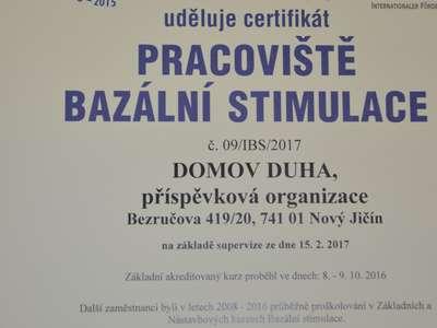 Certifikát Pracoviště bazální stimulace budova Bezručova