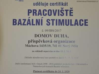 Certifikát Pracoviště bazální stimulace budova Máchova
