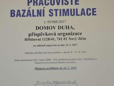 Certifikát pracoviště Bazální stimulace